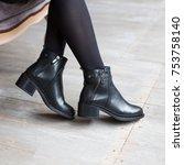 beautiful woman winter shoes  | Shutterstock . vector #753758140