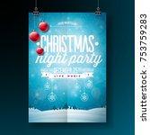 vector merry christmas party... | Shutterstock .eps vector #753759283