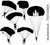 set skydiver  silhouettes... | Shutterstock .eps vector #753765604