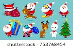 collection of christmas santa... | Shutterstock .eps vector #753768454