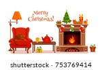christmas room interior in... | Shutterstock .eps vector #753769414