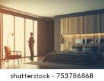 businessman in a luxury bedroom ... | Shutterstock . vector #753786868