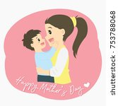 happy mother and son  cartoon... | Shutterstock .eps vector #753788068