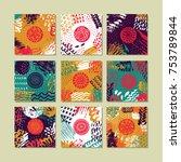 set of creative card template... | Shutterstock . vector #753789844