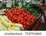 various fresh vegetables in... | Shutterstock . vector #753791860