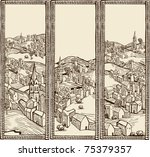 medieval city banners  sepia   Shutterstock .eps vector #75379357
