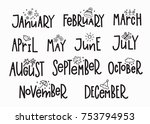 months of the new year simple... | Shutterstock .eps vector #753794953