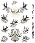 set of swallow tattoo. vintage... | Shutterstock .eps vector #753797260