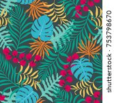 tropical background with palm...   Shutterstock .eps vector #753798670