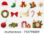 christmas symbols big set.... | Shutterstock .eps vector #753798889