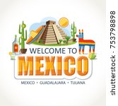 mexico lettering sights symbols ... | Shutterstock .eps vector #753798898