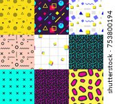 abstract seamless patterns 80s ... | Shutterstock .eps vector #753800194