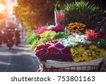 bicycle sell flower bouquet... | Shutterstock . vector #753801163