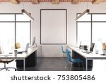 open space office interior with ... | Shutterstock . vector #753805486