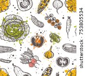 seamless pattern with... | Shutterstock .eps vector #753805534