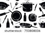 pattern with utensils. vector... | Shutterstock .eps vector #753808036