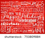 happy holidays and happy new... | Shutterstock .eps vector #753809884