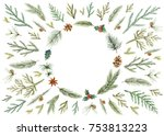 watercolor christmas card with... | Shutterstock . vector #753813223