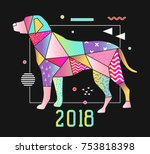 abstract memphis style placard... | Shutterstock .eps vector #753818398