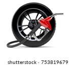car wheel with gasoline nozzle... | Shutterstock . vector #753819679