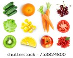 collection of fruits and... | Shutterstock . vector #753824800