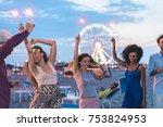 happy friends making beach... | Shutterstock . vector #753824953