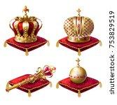 golden royal crowns  scepter... | Shutterstock .eps vector #753829519