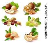 set of different peeled and... | Shutterstock .eps vector #753829534