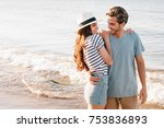 romantic happy couple walking... | Shutterstock . vector #753836893