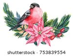 christmas decoration with bird ... | Shutterstock . vector #753839554