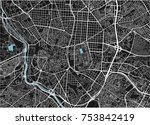 black and white vector city map ... | Shutterstock .eps vector #753842419