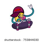 funky bang   cool skateboard guy | Shutterstock .eps vector #753844030