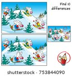 funny rabbits doing skiing.... | Shutterstock .eps vector #753844090