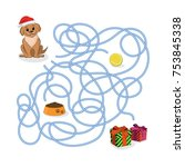 christmas way game. help the... | Shutterstock .eps vector #753845338