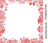red christmas snowflake frame | Shutterstock .eps vector #753845749