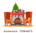 chairs and table with cups of... | Shutterstock .eps vector #753846073