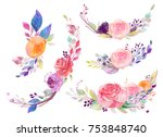 set of watercolor flowers ... | Shutterstock . vector #753848740