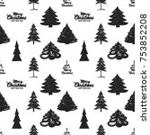 magic vector fir forest with... | Shutterstock .eps vector #753852208