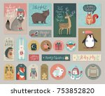 christmas cards and gift tags... | Shutterstock .eps vector #753852820