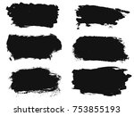 set of black paint  ink brush... | Shutterstock .eps vector #753855193