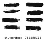 set of black paint  ink brush... | Shutterstock .eps vector #753855196