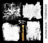 set of textured dry brush... | Shutterstock .eps vector #753856033