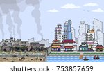 vector pixel art city half slum ... | Shutterstock .eps vector #753857659