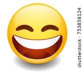 grinning expression emoji... | Shutterstock .eps vector #753858124