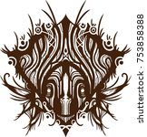 african mask tribal tatoo | Shutterstock .eps vector #753858388