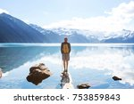 hike to turquoise waters of... | Shutterstock . vector #753859843