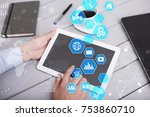 user interface on virtual... | Shutterstock . vector #753860710