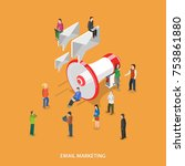 email marketing flat isometric... | Shutterstock .eps vector #753861880
