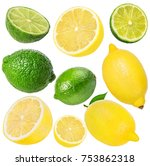 fresh lemon and  lime  isolated ... | Shutterstock . vector #753862318