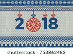 merry christmas and new year... | Shutterstock .eps vector #753862483